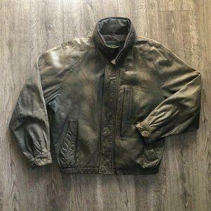 Vintage Faded Savile Row Grey Beige Leather Jacket